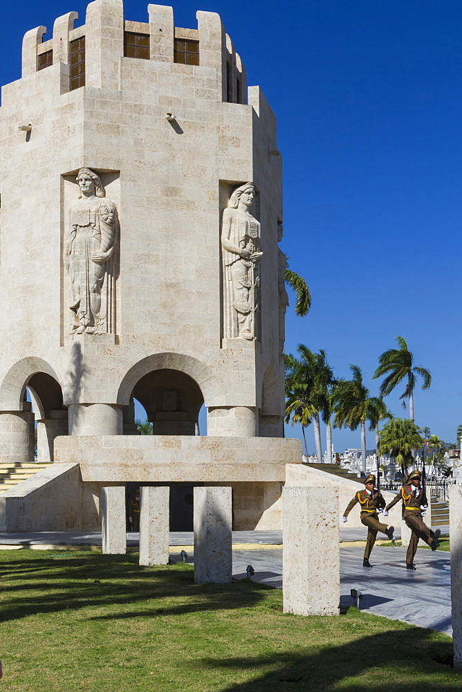 Changing of the guard at Santa Ifigenia cemetery, Santiago, Cuba, West Indies, Caribbean, Central America