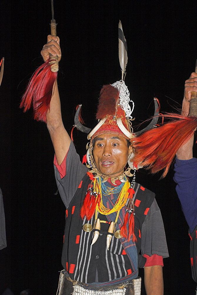 Naga man dancing at Grand Finale wearing headdress of woven cane decorated with wild boar teeth, bear fur, topped with hornbill feather, and tiger claw neckstrap, also tiger teeth necklace and conch shell ear ornament, Naga New Year Festival, Lahe village, Sagaing Division, Myanmar (Burma), Asia