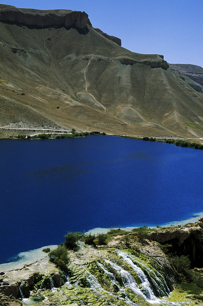 Band-i-Zulfiqar, the main lake at Band-E-Amir (Dam of the King), Afghanistan's first National Park set up in 1973 to protect the five lakes, believed by locals to have been created by the Prophet Mohammed's son-in-law Ali, making them a place of pilgrimage, Afghanistan, Asia