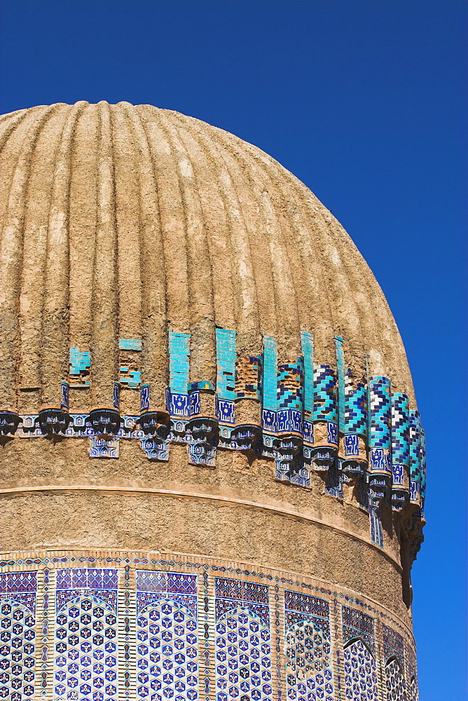 Ribbed dome of the mausoleum of Gaur Shad, wife of the Timurid ruler Shah Rukh, son of Tamerlane, The Mousallah Complex, Herat, Herat Province, Afghanistan, Asia