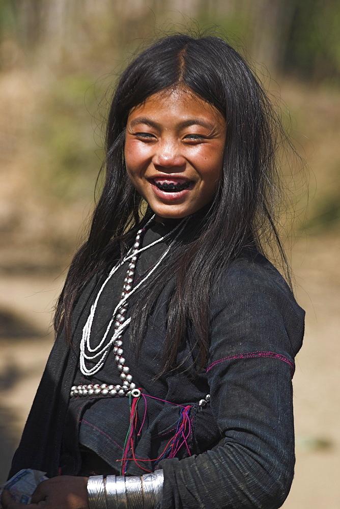 Ann girl, Num Lin Mai, Akha village, Kengtung (Kyaing Tong), Myanmar (Burma), Asia