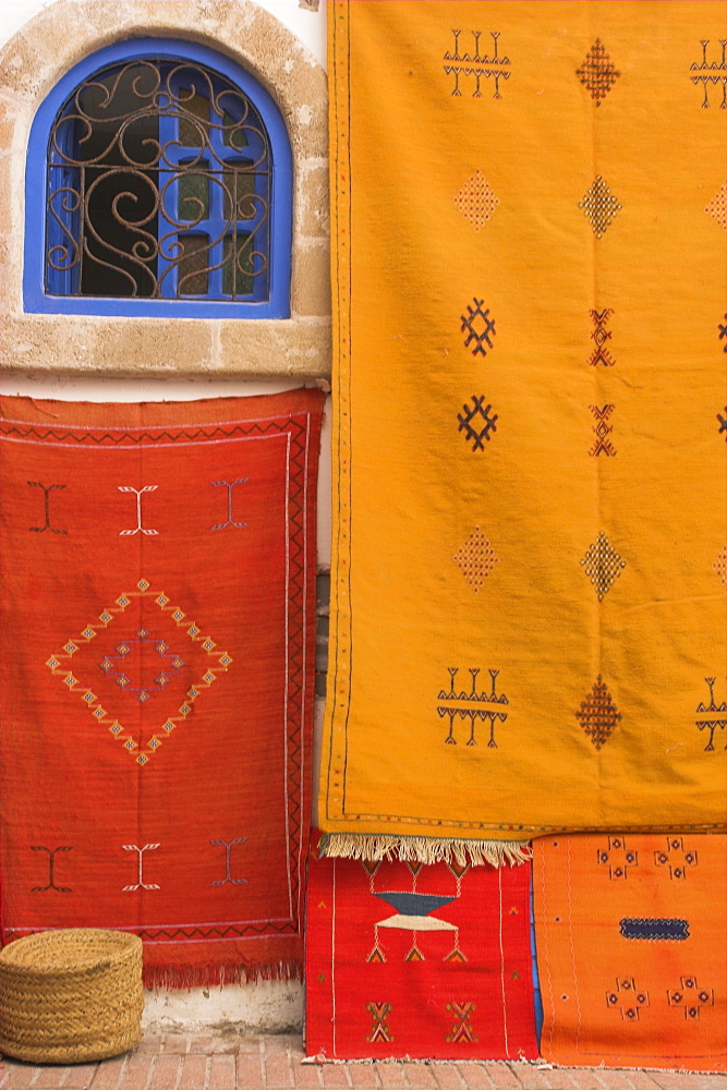 Carpets hanging outside shop in the medina, Essaouira, Morocco, North Africa, Africa - 312-2943