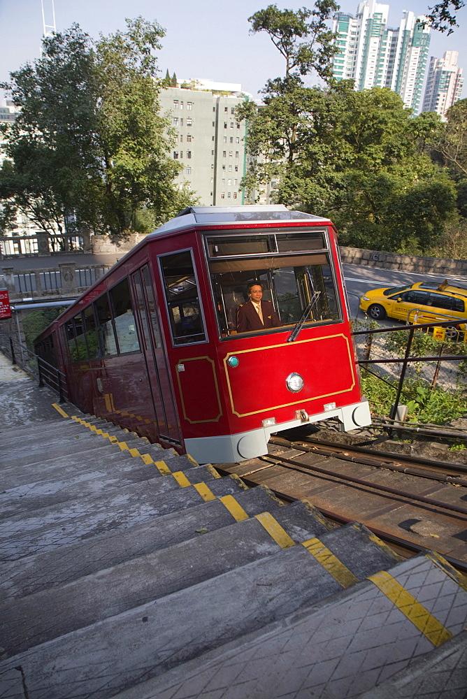 Peak Tram funicular railway, Victoria Peak, Hong Kong Island, Hong Kong, China, Asia