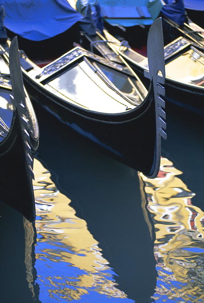 Gondola and reflections, Orsseole, near St. Mark's Square, Venice, Veneto, Italy, Europe - 321-2942