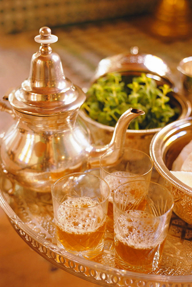 Mint tea, Marrakech, Morocco, North Africa - 321-3314