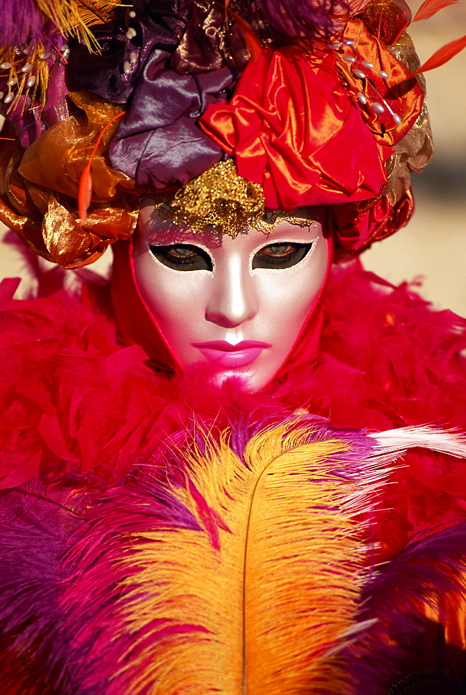 Head and shoulders portrait of a person dressed in carnival mask and costume, Venice Carnival, Venice, Veneto, Italy, Europe