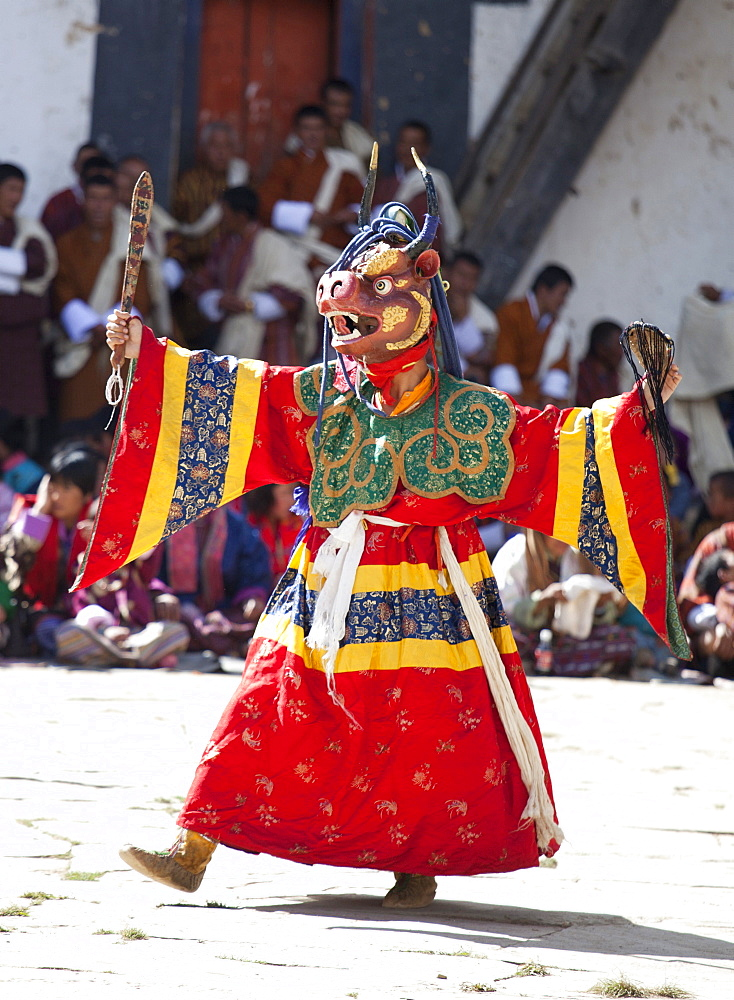 Buddhist monks performing masked dance during the Gangtey Tsechu at Gangte Goemba, Gangte, Phobjikha Valley, Bhutan, Asia