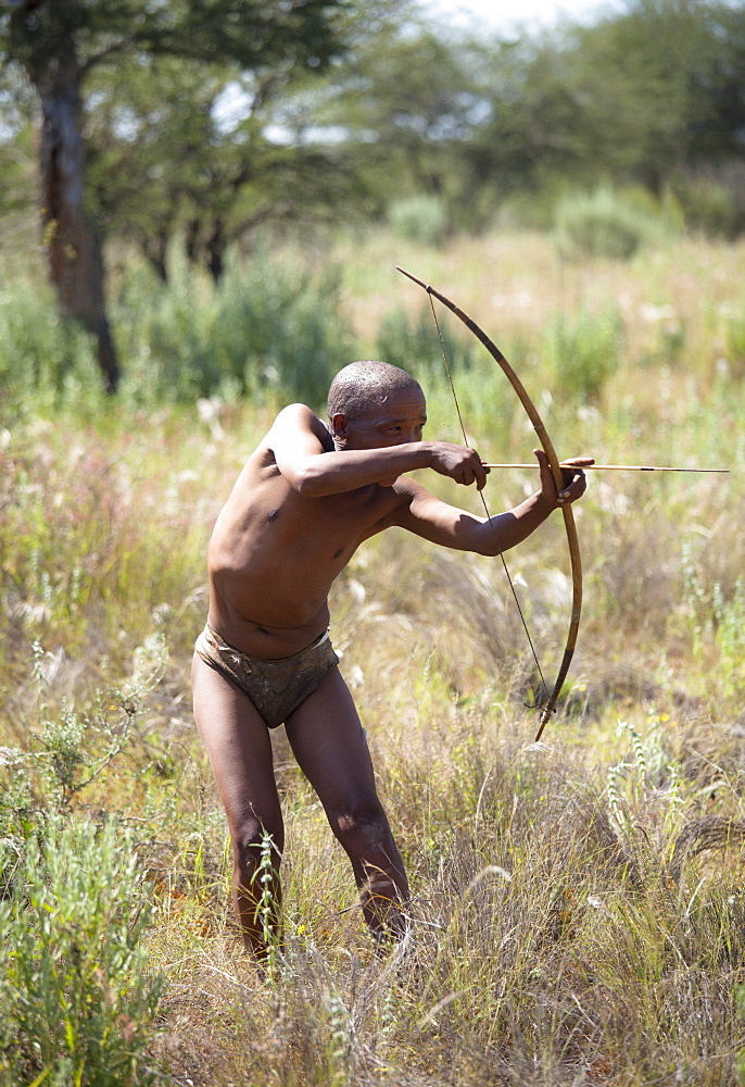 San (Bushman) demonstrating traditional hunting technique with bow and arrow at the Okahandja Cultural Village, near Okahandja town, Namibia
