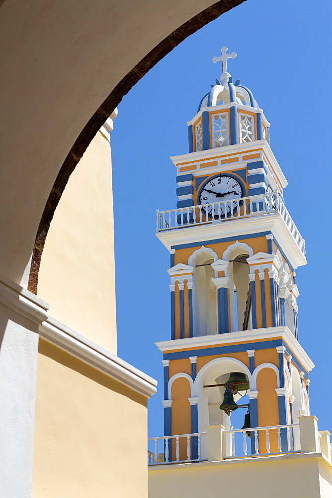 Belltower of the Catholic Cathedral Church of St John the Baptist, Fira, Santorini, Cyclades, Greece