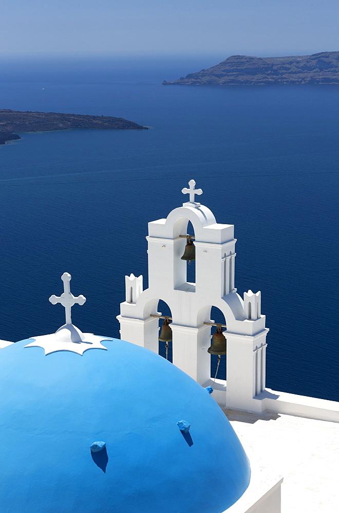 Blue dome and belltower of the church of St Gerasimos, Firostefani, Fira, Santorini, Cyclades, Greece