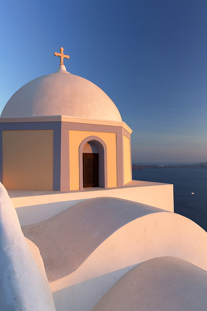 Colourful Catholic Church of St. Stylianos, Fira, Santorini, Cyclades Islands, Greek Islands, Greece, Europe - 321-5651