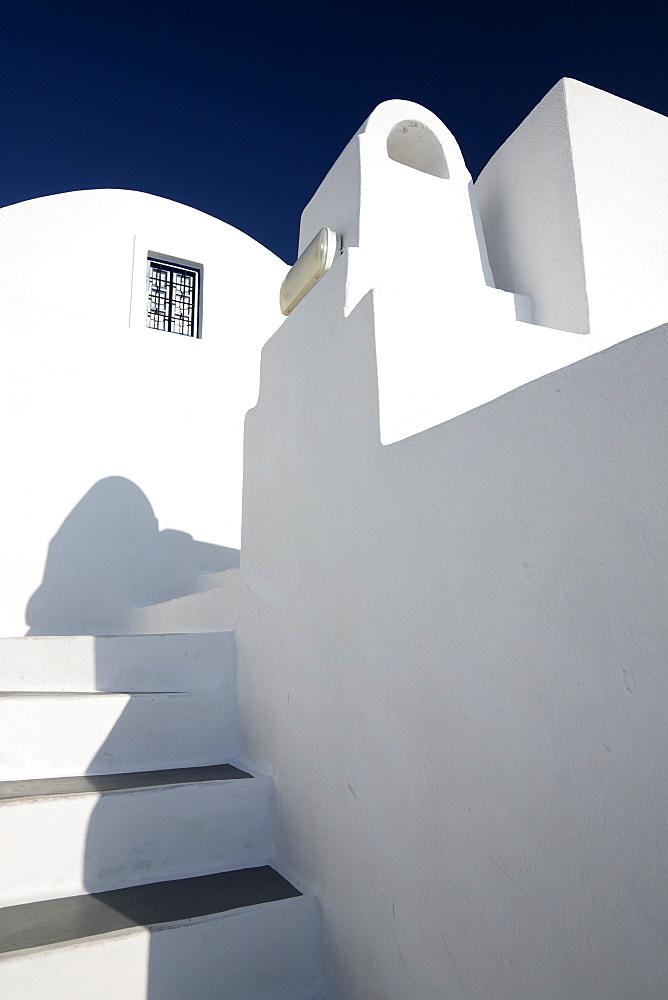 Whitewashed buildings against blue sky, Imerovigli, Santorini, Cyclades, Greece