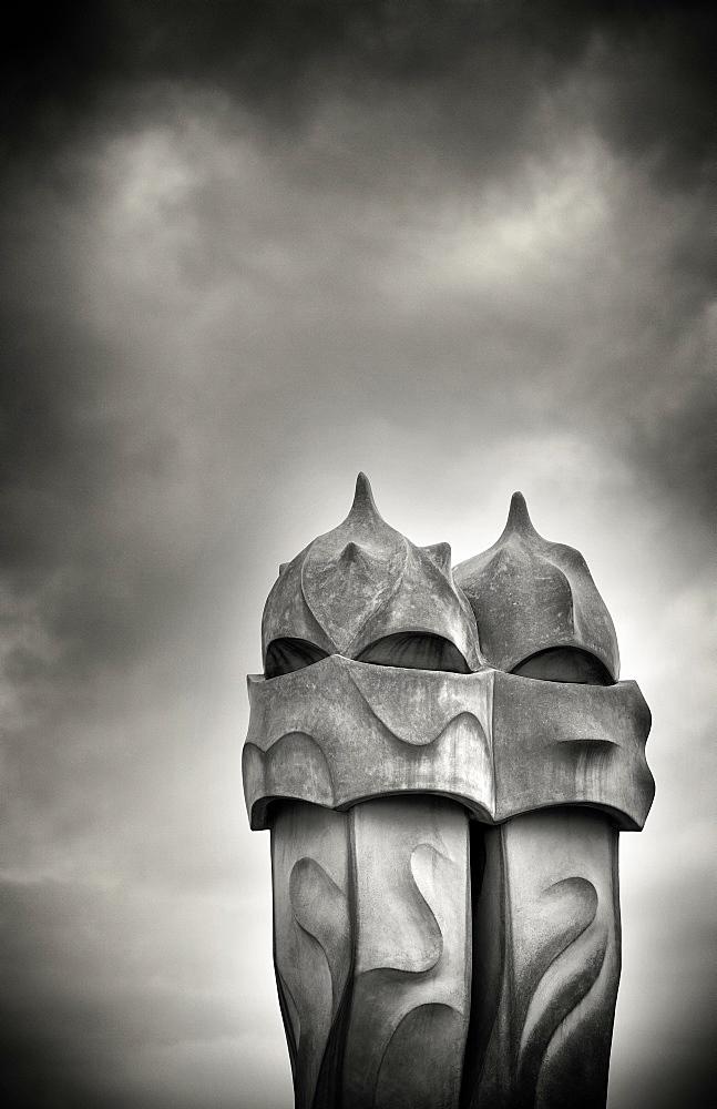Gaudi chimneys on roof of Casa Mila (La Pedrera), UNESCO World Heritage Site, Barcelona, Catalonia, Spain, Europe