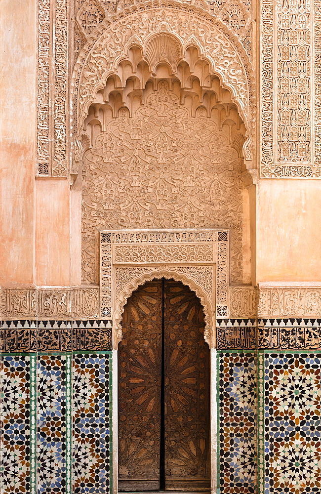 Wall of Ben Youssef Madrasa (ancient Islamic college), UNESCO World Heritage Site, Marrakech, Morocco, North Africa, Africa - 321-5854