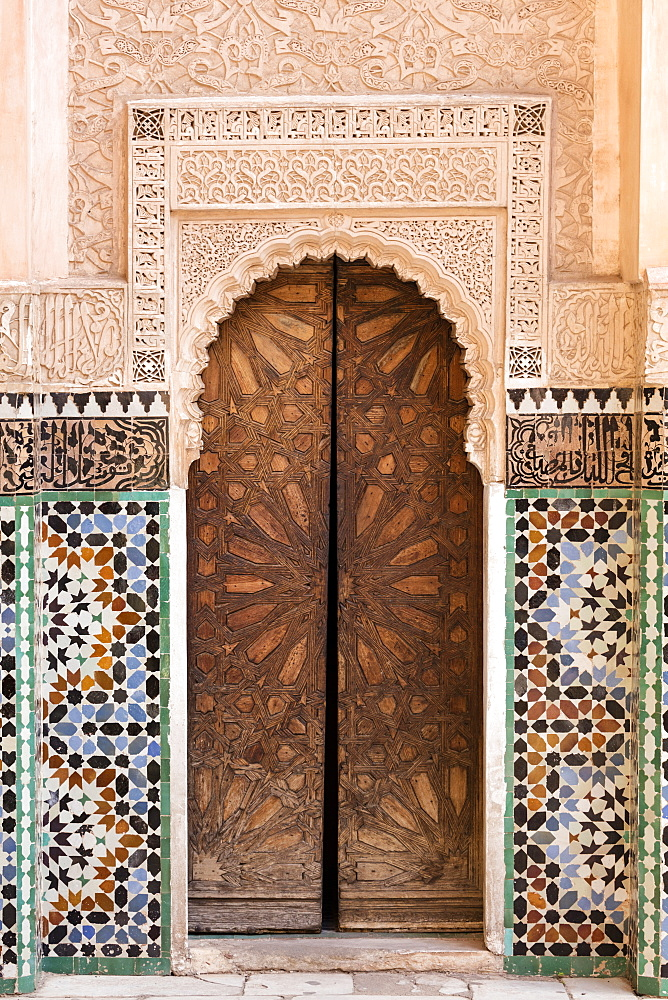 Wall of Ben Youssef Madrasa (ancient Islamic college), UNESCO World Heritage Site, Marrakech, Morocco, North Africa, Africa - 321-5855