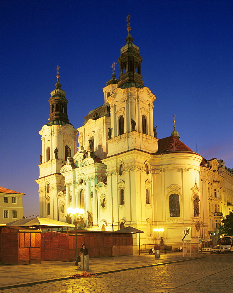 Church of St. Nicholas, illuminated at night, Prague, Czech Republic, Europe