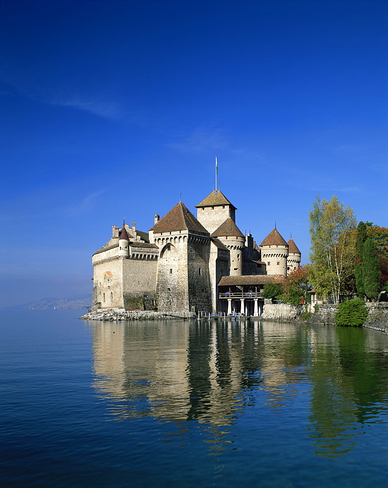 The Chateau de Chillon on Lake Geneva, Switzerland, Europe