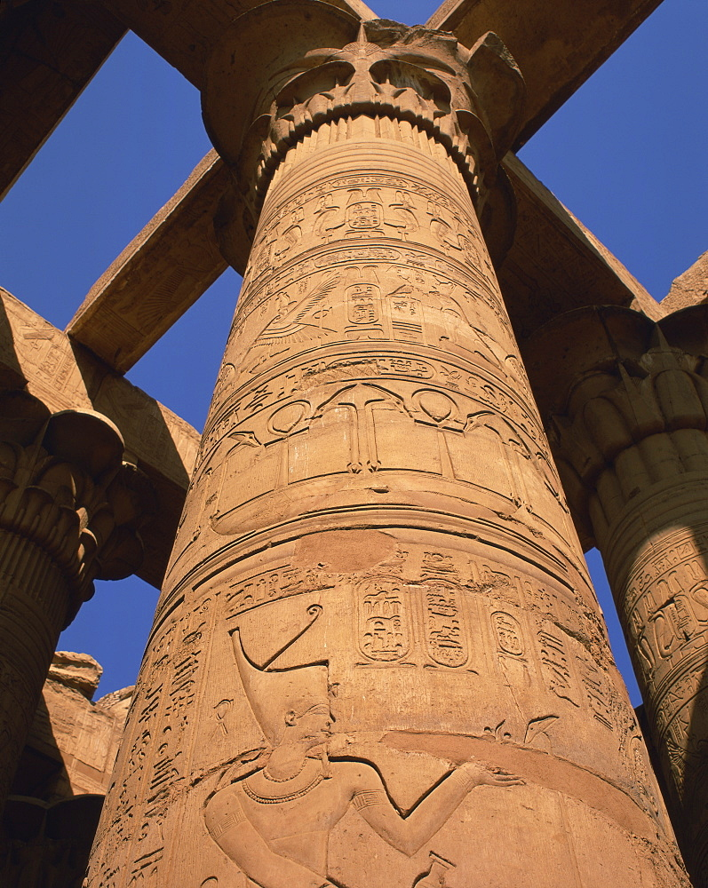 Close-up of hieroglyphs on a stone column in the Great Hypostyle Hall, Temple of Karnak, Thebes, UNESCO World Heritage Site, Egypt, North Africa, Africa