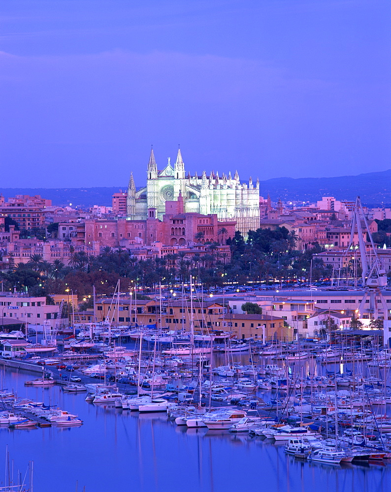 Boats in the marina at dusk with the cathedral of Palma on the skyline, Majorca, Balearic Islands, Spain, Mediterranean, Europe