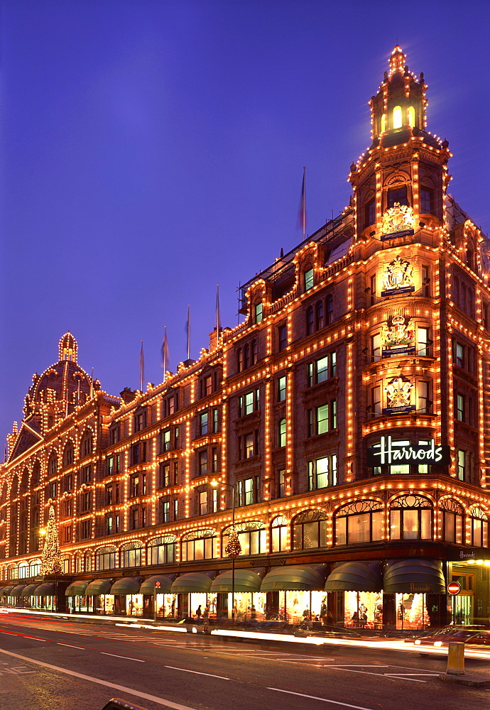 Harrods Department store, illuminated at night, Knightsbridge, London, England, United Kingdom, Europe - 350-715