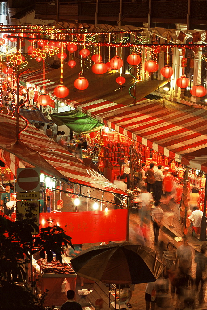 Lanterns and stalls, Chinatown, Singapore, Southeast Asia, Asia - 352-575