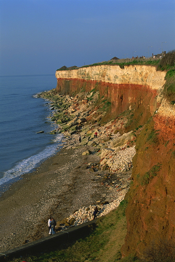 Rockfalls from red and white chalk cliff, Hunstanton, Norfolk, England, United Kingdom, Europe - 352-933