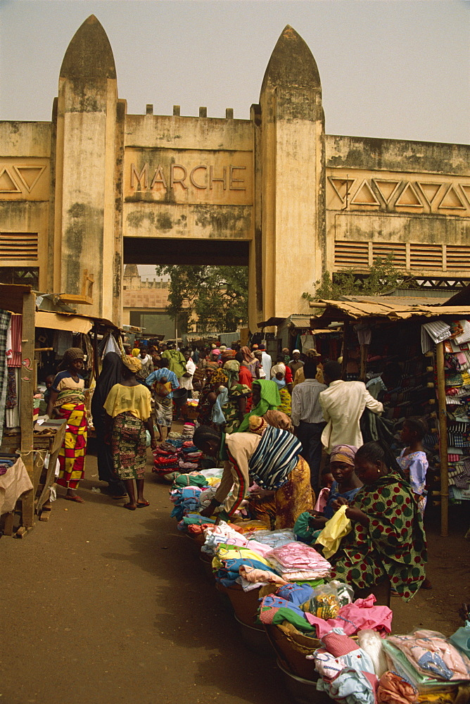 Main entrance, Bobo-Dioulasso market, Burkina Faso, West Africa, Africa