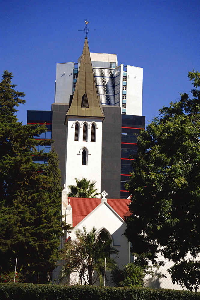 Church and modern buildings, Harare, Zimbabwe, Africa