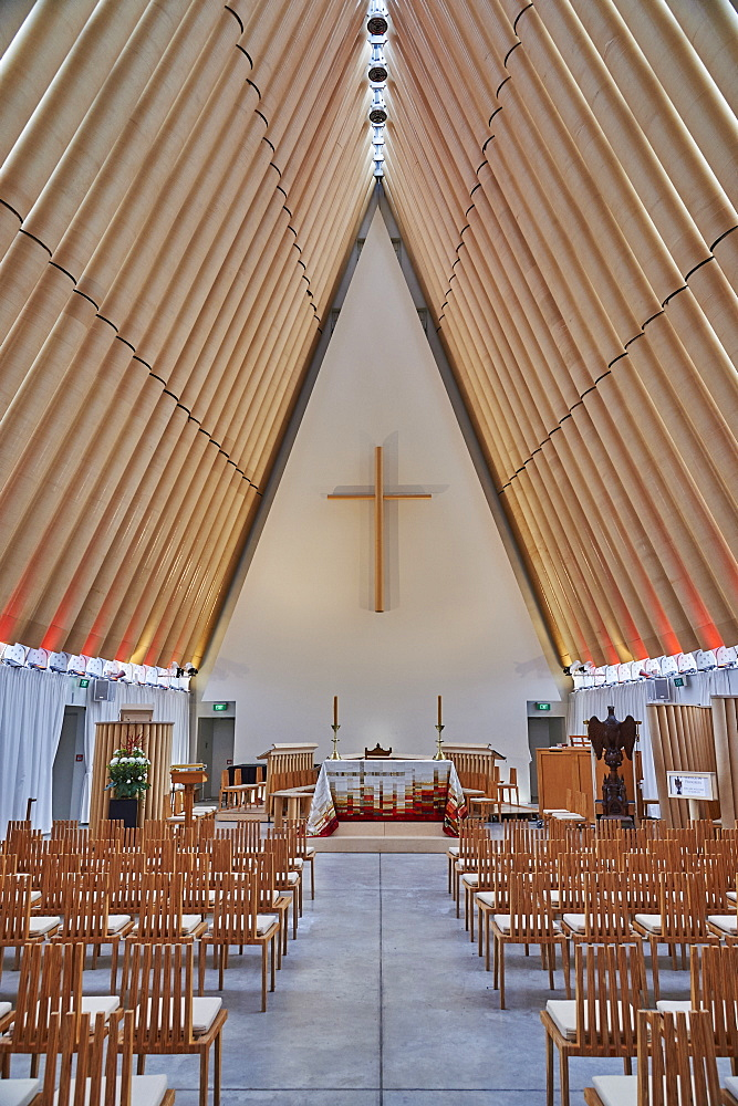 Cardboard Cathedral, the post-earthquake temporary replacement to the city's Gothic-revival cathedral opened in 2012, Christchurch, Canterbury, South Island, New Zealand, Pacific