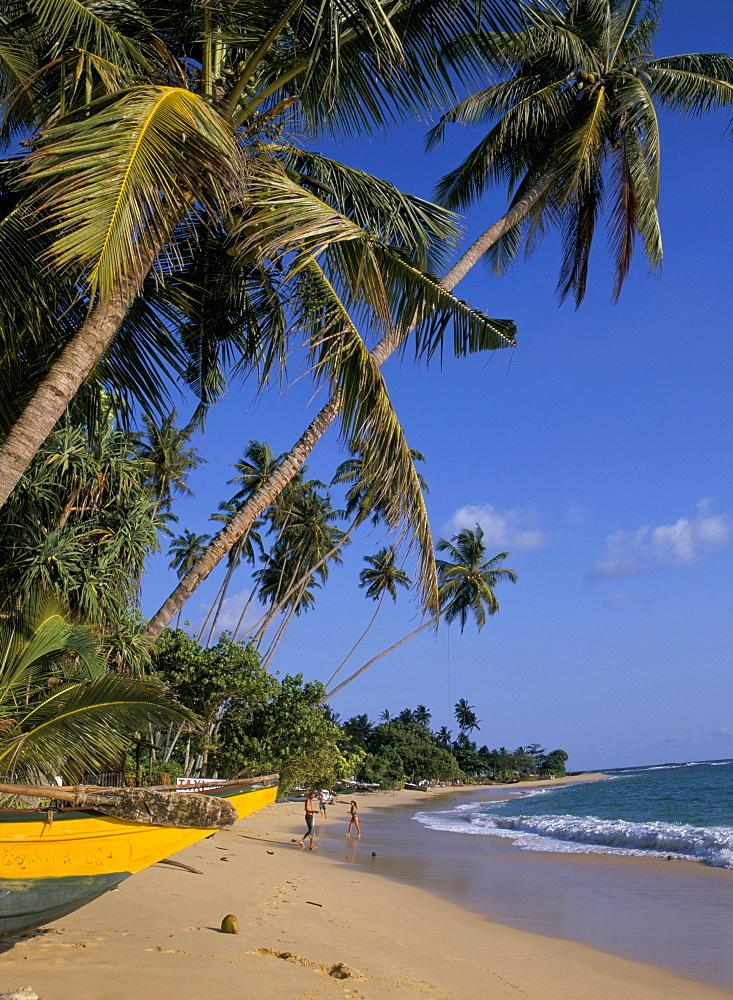 Palm trees and beach, Unawatuna, Sri Lanka, Asia