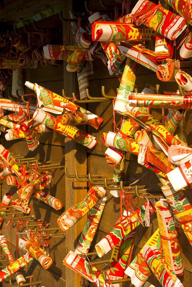 Wishing scrolls, Lam Tsuen, New Territories, Hong Kong, China, Asia