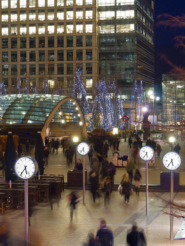Station clocks, Canary Wharf, Docklands, London, England, United Kingdom, Europe