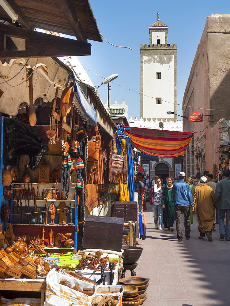 Grand Mosque and street scene in the Medina, Essaouira, Morocco, North Africa, Africa