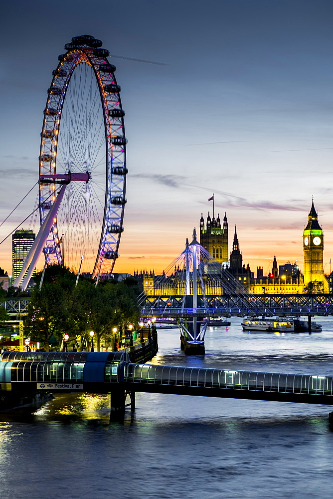 Millennium Wheel (London Eye), River Thames and Big Ben skyline at twilight, London, England, United Kingdom, Europe - 367-6105