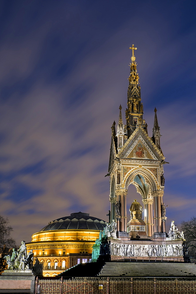 Albert Memorial and Albert Hall at dusk, Kensington, London, England, United Kingdom, Europe - 367-6109