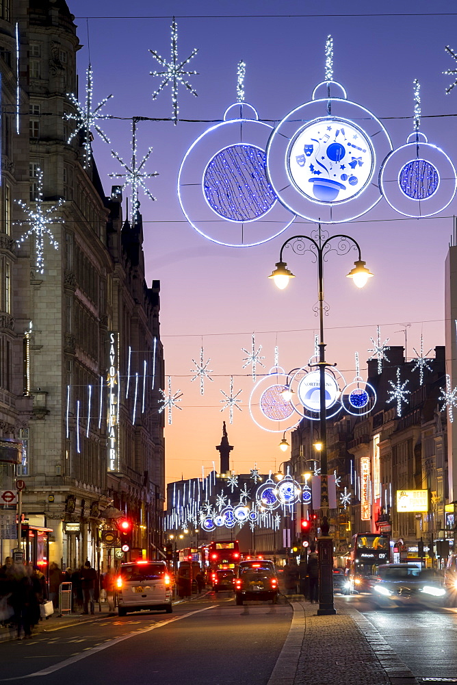 Christmas lights on The Strand, London, England, United Kingdom, Europe