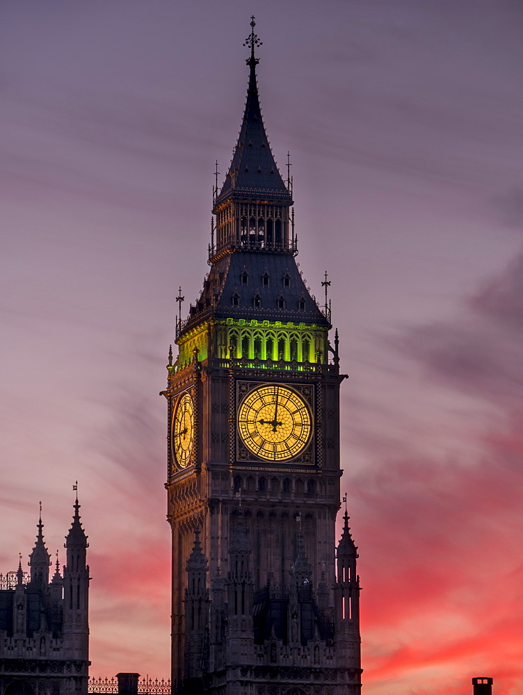 Big Ben at sunset, Westminster, London, England, United Kingdom, Europe