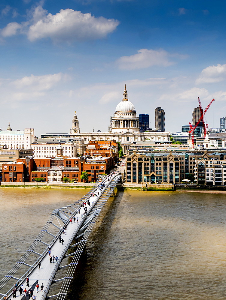 St. Paul's Cathedral and Millennium Bridge from the Tate Gallery, London, England, United Kingdom, Europe - 367-6138