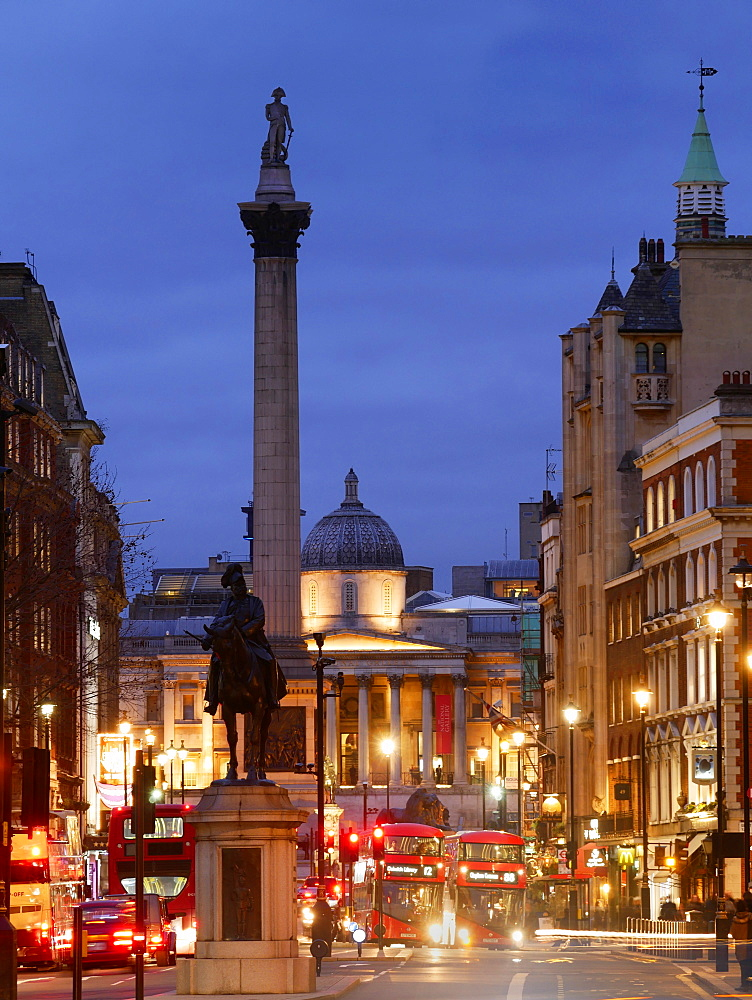 Nelsons Column and Trafalgar Square from Whitehall, London, England, United Kingdom, Eurpe
