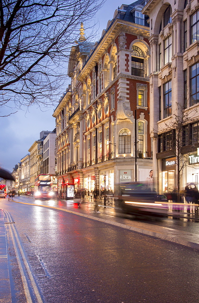 Rainy dusk on Oxford Street, London, England, United Kingdom, Europe - 367-6164