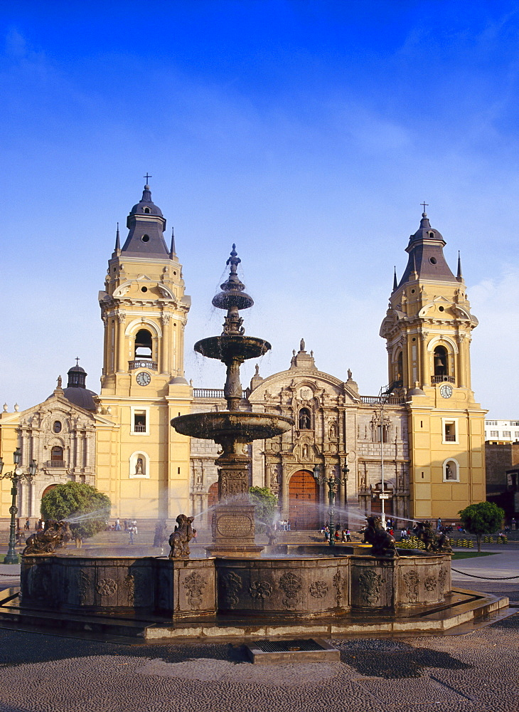 Fountain in front of the cathedral in Lima, Peru, South America