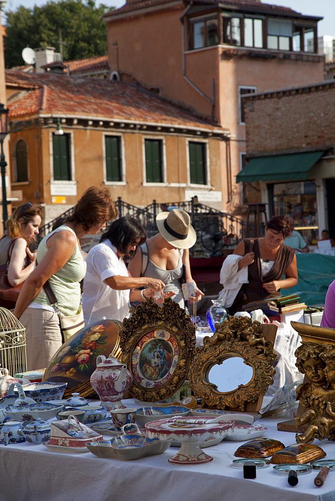 Flea market in Campo San Barnaba, Venice, Veneto, Italy, Europe - 373-1236