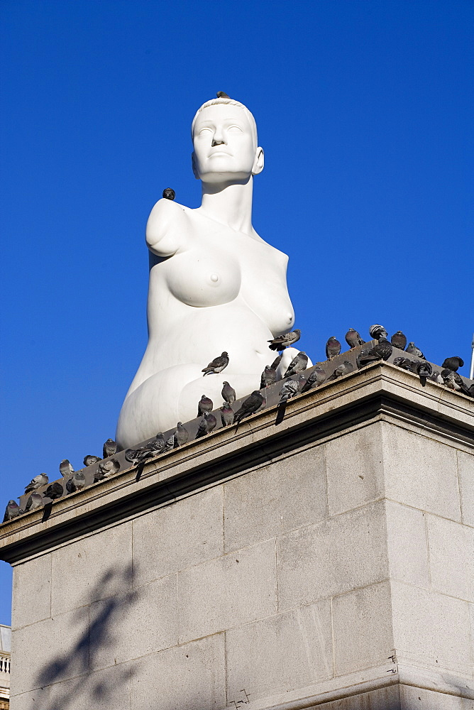 Statue of Alison Lapper, Pregnant, Trafalgar Square, London, England, United Kingdom, Europe - 375-779