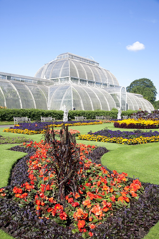 Palm House parterre with floral display of approx 16000 plants, Royal Botanic Gardens, UNESCO World Heritage Site, Kew, near Richmond, Surrey, England, United Kingdom, Europe