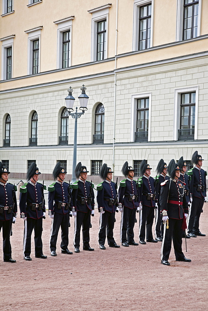 Line of Royal Guards at the Royal Palace, Oslo, Norway, Scandinavia, Europe