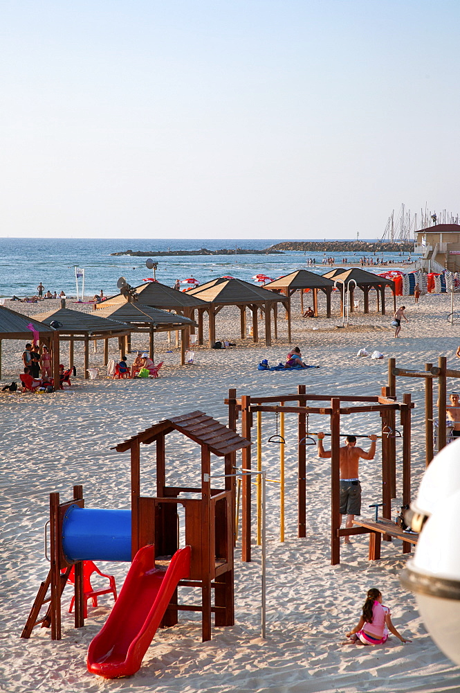Beach huts and Leisure Area at Gordon Beach, Tel Aviv, Israel, Middle East - 377-3944