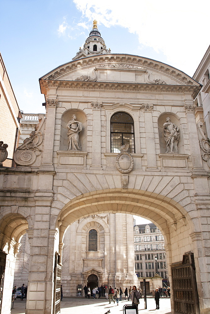 The Temple Bar Gateway, archway connecting St. Paul's Cathedral to Paternoster Square, London, England, United Kingdom, Europe - 377-3968