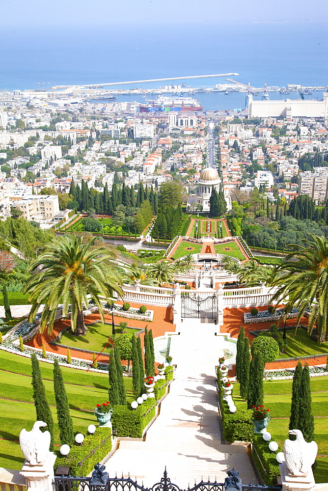 View of Haifa from the top of Mount Carmel showing the Port of Haifa in the distance, Haifa, Israel, Middle East - 377-3981