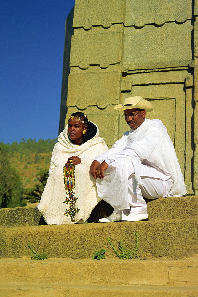 Bride and groom, Stelae Field, Axum, Ethiopia, Africa