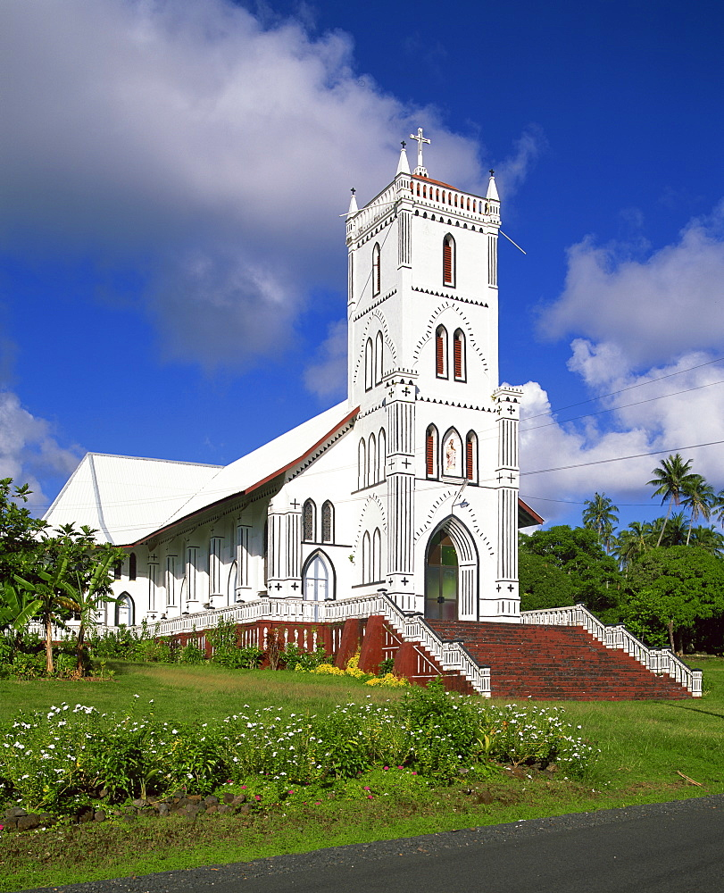 Traditional Samoan church at Felafa, Western Samoa, Pacific Islands, Pacific - 383-1213